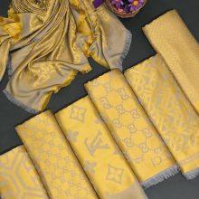 روسری نخ ژاکارد طوسی و زرد